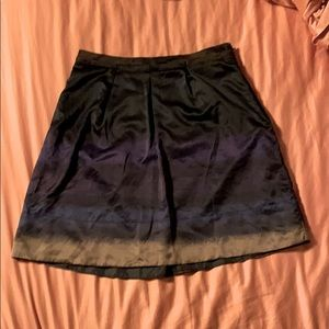 Satin Watercolor A Line Skirt